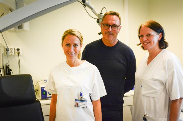 Bilde av ansatte på Kongsberg sykehus som forteller om styrket tilbud på øre/nese- og halsavdelingen.